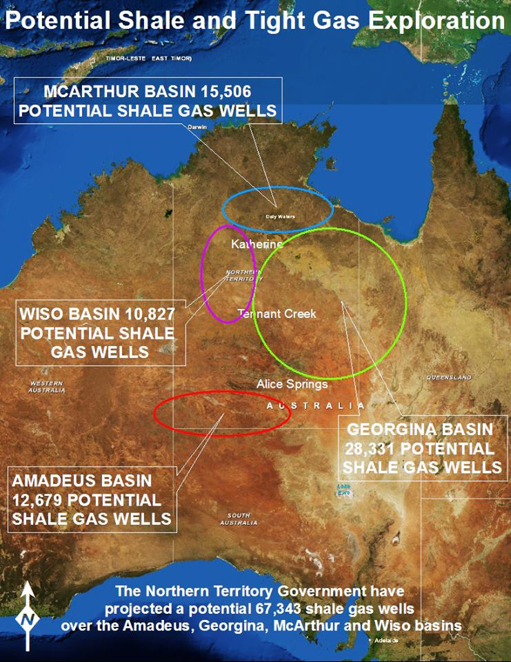This map shows the predicted number of fracking gas wells that would be required to extract gas from each region in the NT.